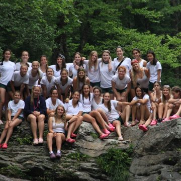 group photo of campers and staff